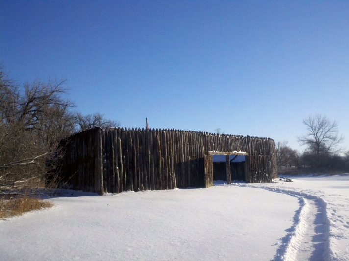 The_reconstruction_of_Fort_Mandan_in_winter