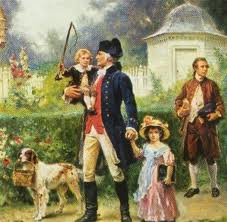 Image result for paintings of George Washington and Jack and Patsy Custis